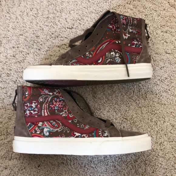 26c22474ba Vans SK8 Hi Zip CA Paisley Olive Skate Shoes M Sz7